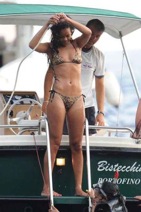 Rihanna: living it up off the coast of Portofino