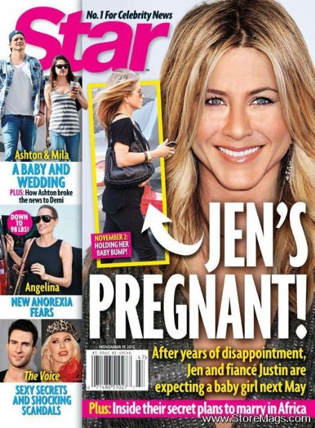 Jennifer Aniston, Mila Kunis, Adam Levine, Christina Aguilera - Star Magazine Cover [United States] (19 November 2012)