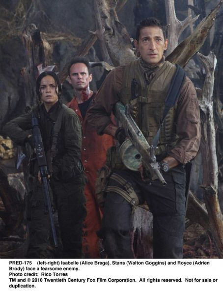 Walton Goggins (left-right) Isabelle (Alice Braga), Stans () and Royce (Adrien Brody) face a fearsome enemy. Photo credit: Rico Torres