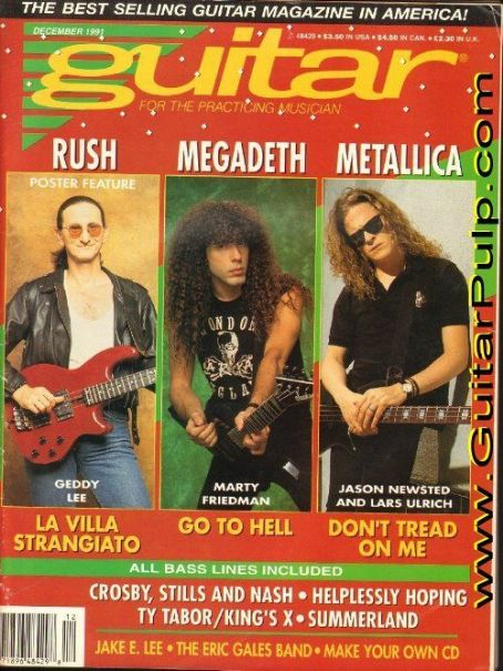 Geddy Lee, Marty Friedman, Jason Newsted - Guitar Magazine Cover [United States] (December 1991)