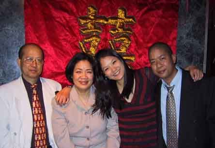 Lynn Chen,her Mother, father and brother Morgan