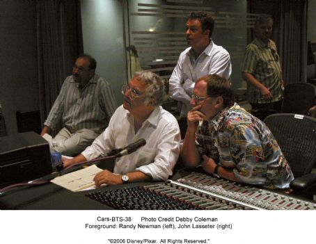 Randy Newman Studio Stills photos of Cars: (Foreground)  (left), John Lasseter (right)