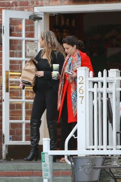 Elizabeth Berkley with big baby bump at Urth Cafe