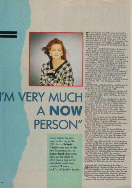 Belinda Carlisle - Record Mirror Magazine Pictorial [United Kingdom] (16 January 1988)