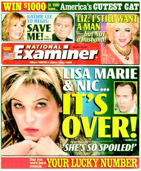 Lisa Marie Presley - National Examiner Magazine [United States] (26 November 2003)