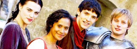 Angel Coulby and Bradley James Katie McGrath with the rest of the Merlin cast.