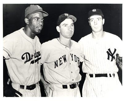Jackie Robinson , Joe Gordon & Joe DiMaggio 1947