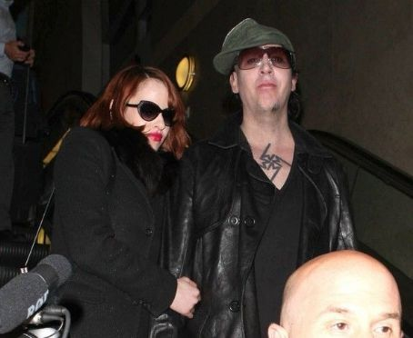 Marilyn Manson and Lindsay Usich Goth Singer Marilyn Manson And His Girlfriend Lindsay Usich Arriving On A Flight At Lax Airport In Los Angeles