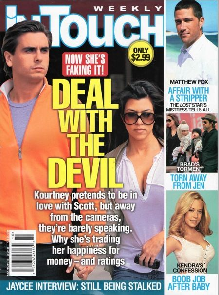 Kourtney Kardashian, Angelina Jolie, Brad Pitt, Matthew Fox, Scott Disick - In Touch Weekly Magazine Cover [United States] (8 March 2010)