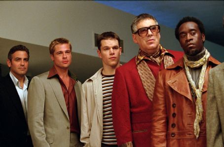Elliott Gould George Clooney, Brad Pitt, Matt Damon,  and Don Cheadle in Warner Brothers' Ocean's Eleven - 2001