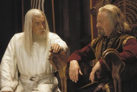 Gandalf Ian McKellen as  and Bernard Hill as Theoden King in New Line's The Lord of The Rings: The Two Towers - 2002