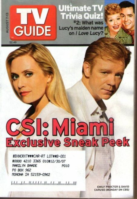David Caruso - TV Guide Magazine [United States] (7 August 2005)