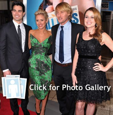 Tyler Hoechlin , Nicky Whelan, Owen Wilson and Jenna Fischer arrive to the premiere of Warner Bros. Pictures' 'Hall Pass'