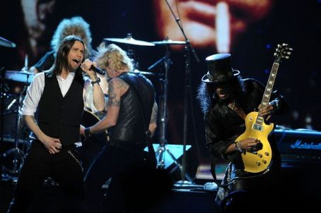 Inductee Slash of Guns N' Roses speaks on stage during the 27th Annual Rock And Roll Hall Of Fame Induction Ceremony at Public Hall on April 14, 2012 in Cleveland, Ohio