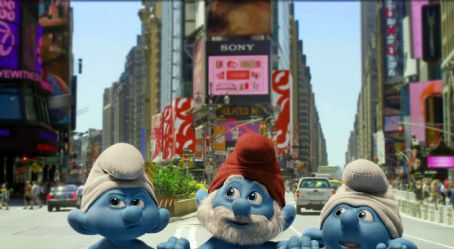 The Smurfs Grouchy (voice by George Lopez), Papa (voice by Jonathan Winters) and Clumsy Smurf (voice by Anton Yelchin) in Columbia Pictures' THE SMURFS.