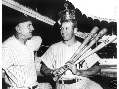 Mickey Mantle Mickey with manager Casey Stengel  after winning the batting Triple Crown in 1956