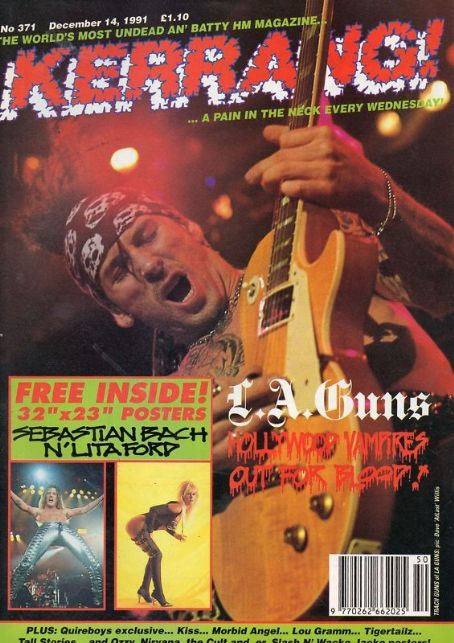 Tracii Guns - Kerrang Magazine Cover [United Kingdom] (14 December 1991)