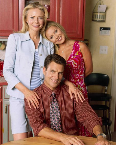 Faith Ford ('Hope,' left), Ted McGinley ('Charley,' center) and Kelly Ripa ('Faith,' right) star in Lionsgate Home Entertainment's Hope & Faith: Season 1.