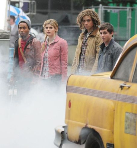 Logan Lerman and his Percy Jackson: Sea of Monsters costars were all spotted filming new scenes for the film, April 19, in Vancouver