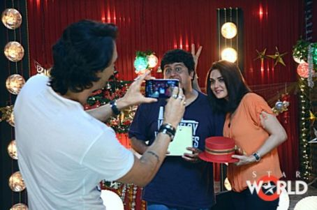 Preity Zinta and Arjun Rampal on the sets of 'Love 2 Hate You' show