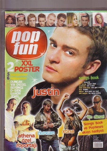 Justin Timberlake, Vin Diesel, Duncan James, Christina Aguilera, Beyoncé Knowles, Avril Lavigne, Robbie Williams - Pop Fun Magazine Cover [Turkey] (August 2004)