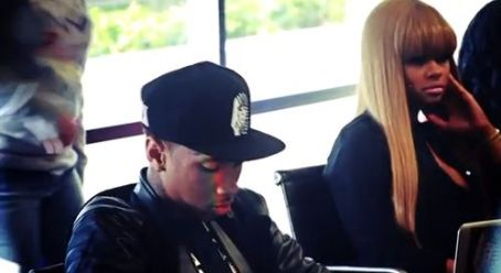 Blac Chyna Tyga and  at the studio