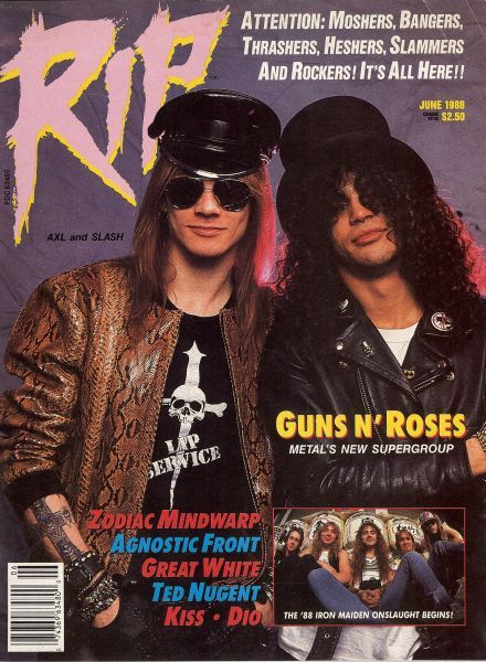 W. Axl Rose, Slash - Rip Magazine Cover [United States] (June 1988)