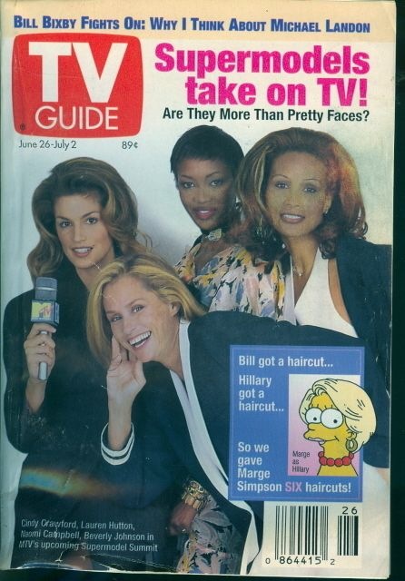 Cindy Crawford, Lauren Hutton, Beverly Johnson, Naomi Campbell - TV Guide Magazine Cover [United States] (26 June 1993)