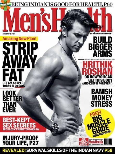 Hrithik Roshan - Men's Health Magazine Cover [India] (1 August 2012)
