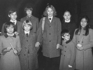 Soon-Yi Previn Actress Mia Farrow with her children (back row L-R) Matthew, Sascha, Soon-Yi; (front row L-R) Daisy, Fletcher, Moses and Lark; on their way to New Year's Eve Mass (Time, Inc.)