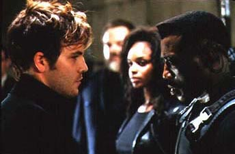 N'Bushe Wright Stephen Dorff as Frost, N'Bushe Wright as Karen and Wesley Snipes as Blade in New Line Cinema's Blade - 1998