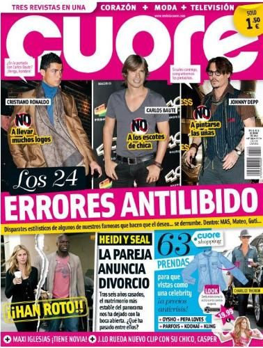 Cristiano Ronaldo, Johnny Depp, Carlos Baute - Cuore Magazine Cover [Spain] (25 January 2012)