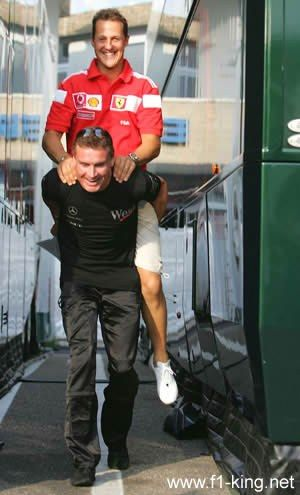 Michael Schumacher - David and Michael in the Paddock