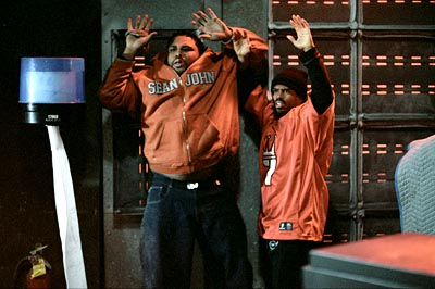 Anthony Anderson and Lahmard Tate in MGM's Barbershop - 2002