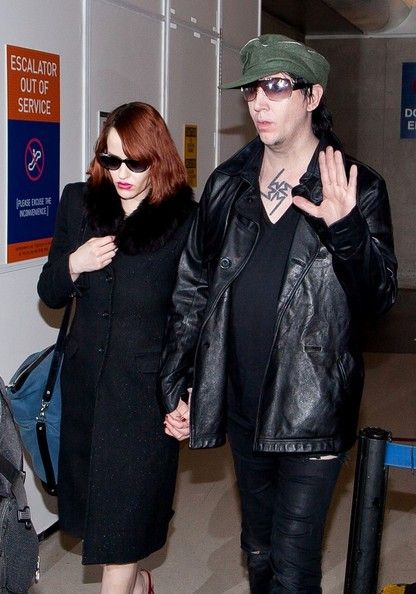 Marilyn Manson and Lindsay Usich  arrive at Lax