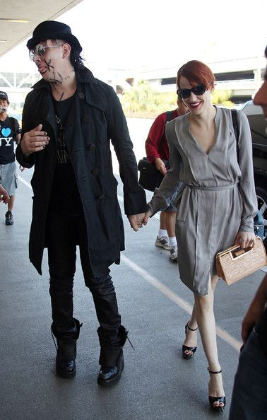 Marilyn Manson and Lindsay Usich Shock Rocker Marilyn Manson At Lax With Girlfriend Lindsay Usich