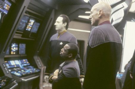 LeVar Burton Brent Spiner as Lieutenant Commander Data,  as Lieutenant Commander Geordi LaForge and Patrick Stewart as Captain Jean-Luc Picard in Paramount's Star Trek: Nemesis - 2002