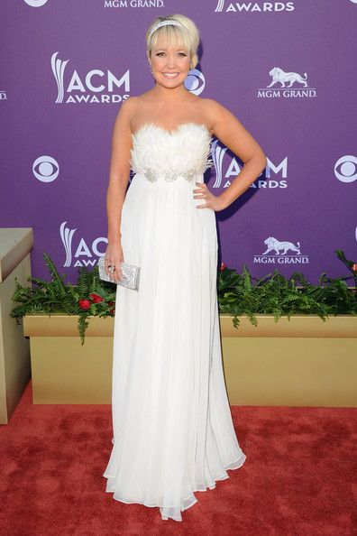 Meghan Linsey of the music group Steel Magnolia arrives at the 47th Annual Academy Of Country Music Awards