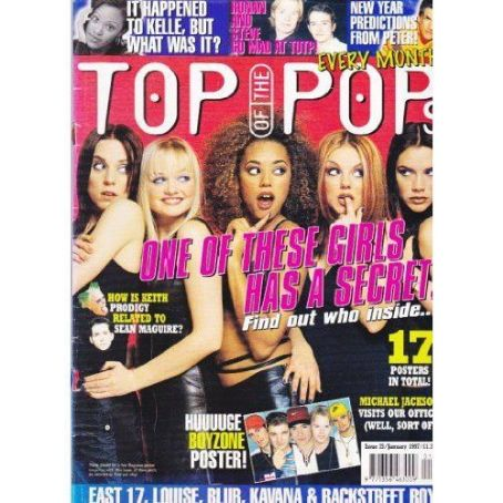 Emma Bunton, Geri Halliwell, Melanie Chisholm, Victoria Beckham, Melanie Brown - Top of the Pops Magazine Cover [United Kingdom] (January 1997)