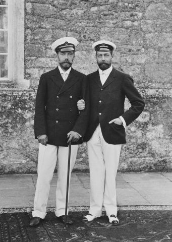Photograph of Tsar Nicholas II of Russia (1868-1918) and George, Prince of Wales, outside Barton Manor