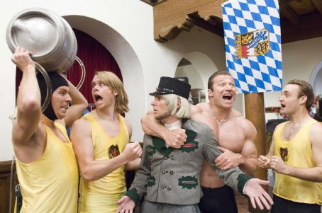 "Nat Faxon From left to right: NAT FAXON as Rolf, ERIC CHRISTIAN OLSEN as Gunter, JAMES RODAY as German Messenger, GUNTER SCHLIERKAMP as Schlemmer and WILL FORTE as Otto in Warner Bros. Pictures' and Legendary Pictures' comedy ""Beerfest."" Pho"