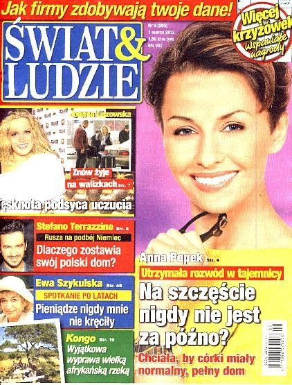 Anna Popek - Swiat & Ludzie Magazine Cover [Poland] (1 March 2012)