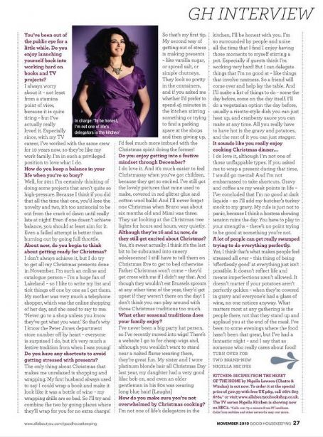 Nigella Lawson Good Housekeeping UK November 2010